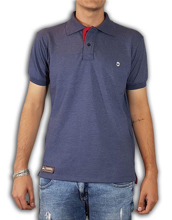 Camisa Polo Pressão Rural - Azul Mescla