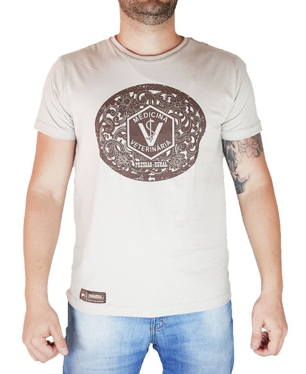 Camiseta Pressão Rural - Veterinária Bege Granfino