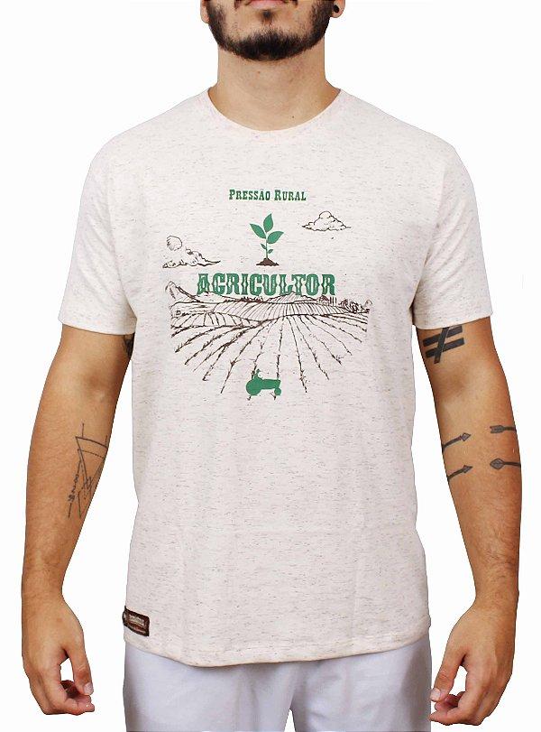 Camiseta Pressão Rural - Agricultor Bege mescla