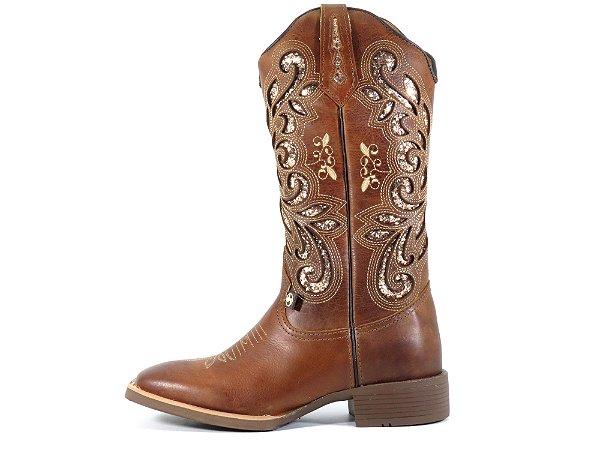 Bota Texana Feminina Hopper Bico Quadrado em Couro Legítimo