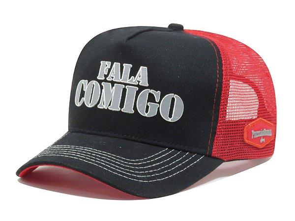 Boné Aba Curva Trucker Fala Comigo - Vermelho/Preto