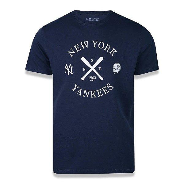 CAMISETA NEW ERA MLB NEW YORK YANKEES COLLEGE BAT - MARINHO