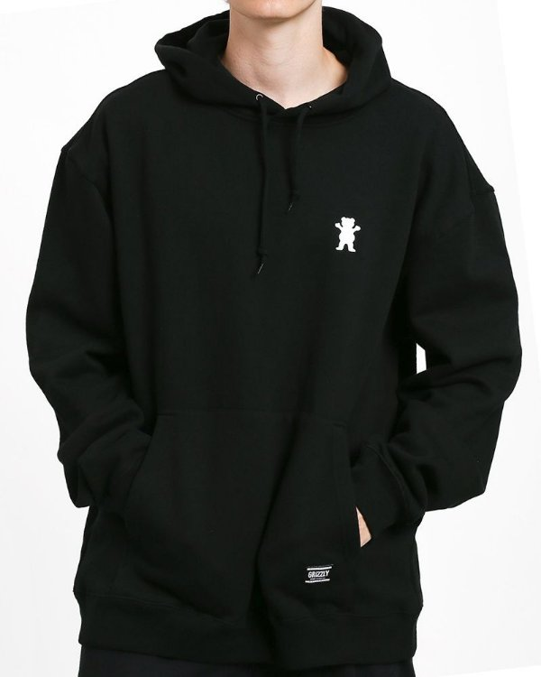 MOLETOM GRIZZLY OG BEAR PULLOVER EMBROIDERY HOODIE BLACK