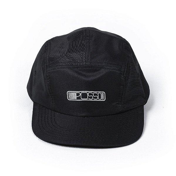 Bone Posso 5 panel Missao Camper Hat - Black
