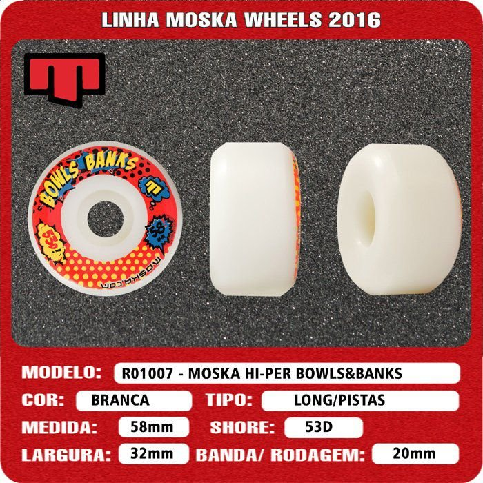 Roda Moska Bowl Banks 58mm 53D Branca