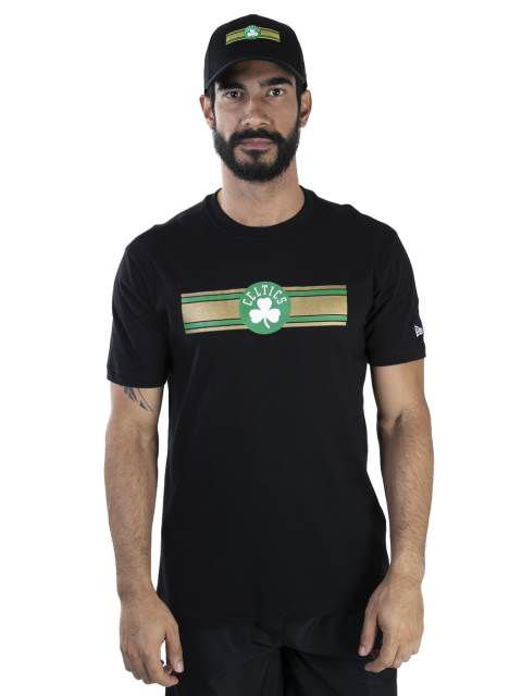 CAMISETA NEW ERA NBA BOSTON CELTICS ESSENTIALS STRIPE PRETA