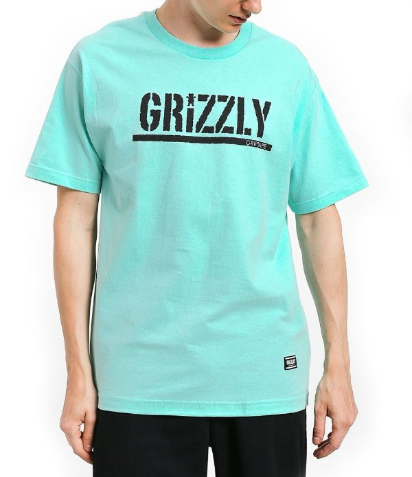 CAMISETA GRIZZLY STAMPED CELADON