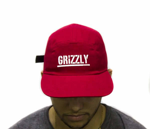 BONÉ GRIZZLY FIVE PANEL STAMPED CAMPER UNSTRUCTER RED