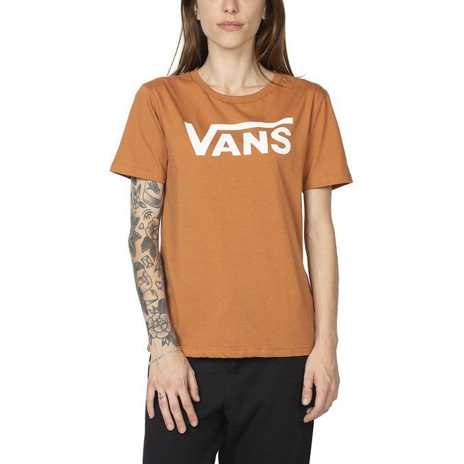 Camiseta Vans Feminina Flying V Crew - Amarelo Areia