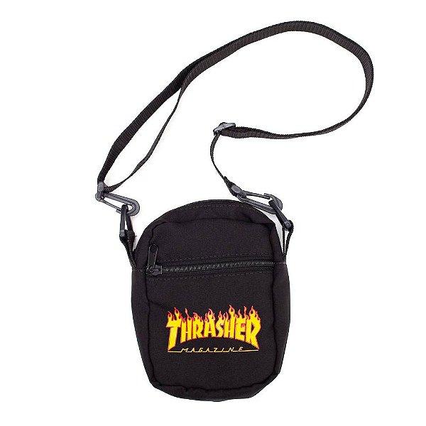 Shoulder Bag Thrasher Magazine Flame Logo Preta