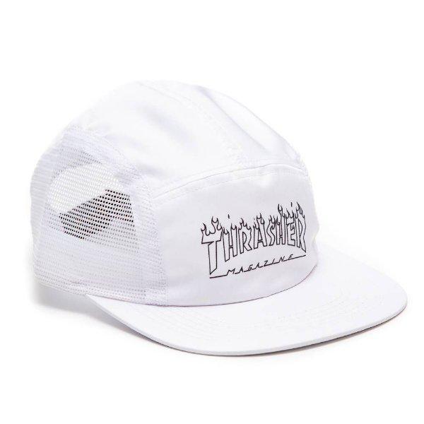 Boné Five Panel Thrasher Flame Outline - Branco