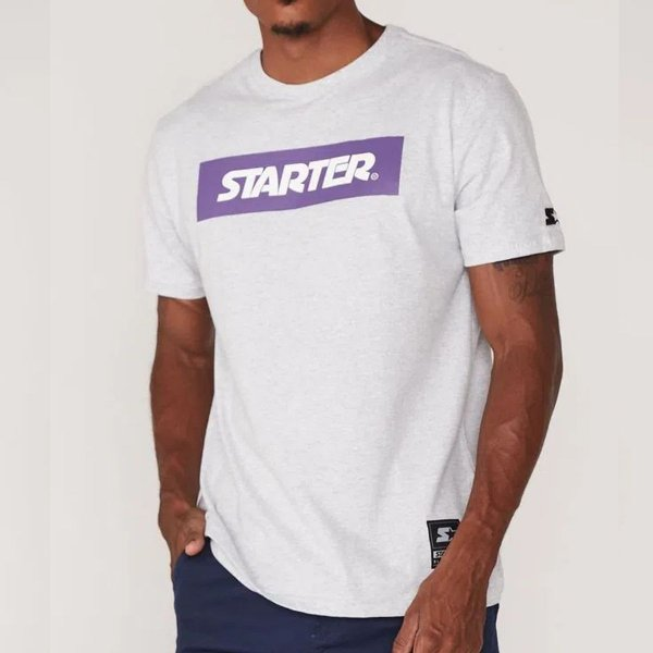 Camiseta Starter Estampada Logo - Cinza mescla