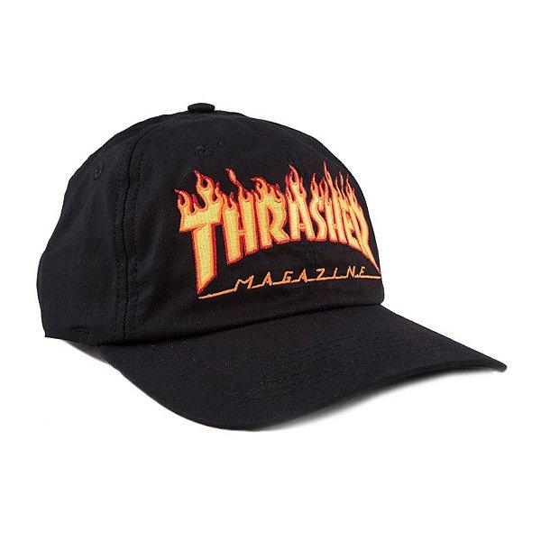 Boné Thrasher Magazine Flame Logo Dad Hat Black