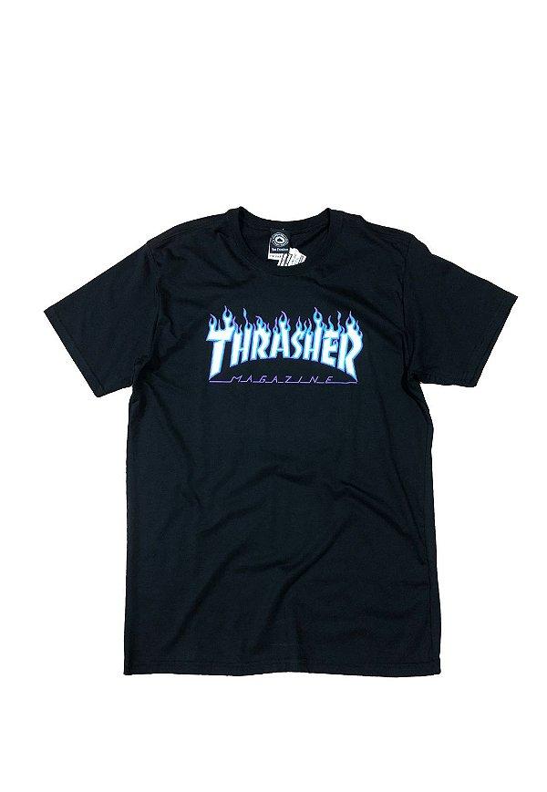 Camiseta Thrasher Magazine sky logo - preta