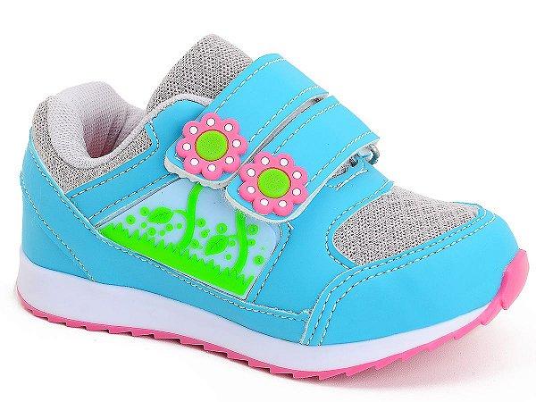 Tênis Infantil Feminino Botinho Florzinha Azul Rosa Roxo Kids Escolar Dia a Dia