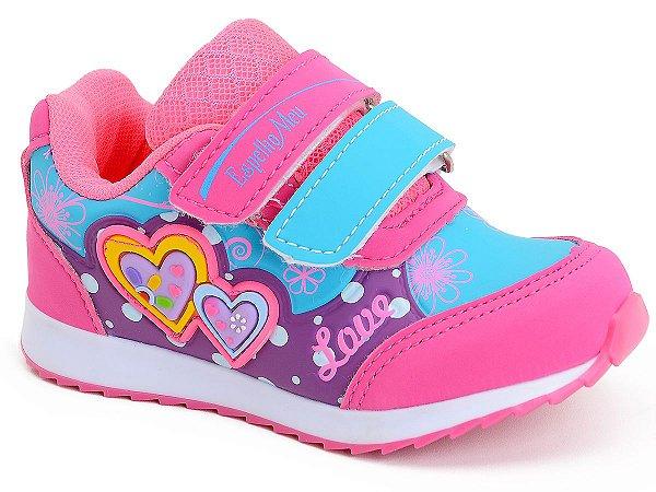 Tênis Infantil Feminino Rosa Bebê Escolar Botinho Esportivo Espelho Meu Kids 796