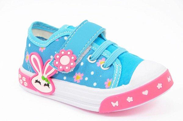 Tênis Infantil Bebê Feminino Celeste Pink Coelhinho Azul Botinho Espelho Meu 840fa