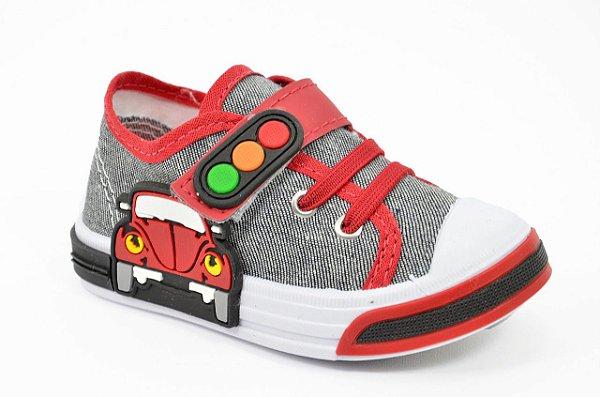 Tênis Infantil Bebê Carrinho Vermelho Botinho Velcro Elástico Tecido Dia das Crianças 846ca