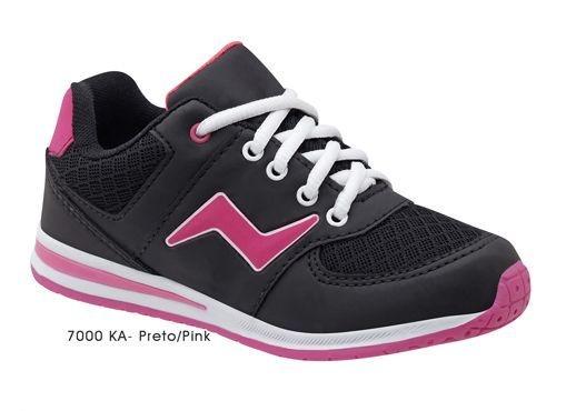Tênis Esportivo New Botto Preto/Pink Sola em TR Fechamento Cadarço  Marca Botinho