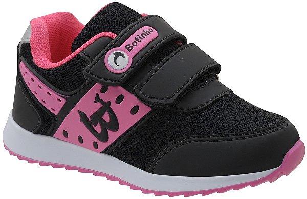 Tênis Infantil Esportivo Preto/Rosa Escolar Fechamento em Velcro Marca Botinho