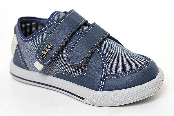 Sapatênis Masculino Infantil Jeans Azul Casual BTO Kids Botinho Velcro Sola TR