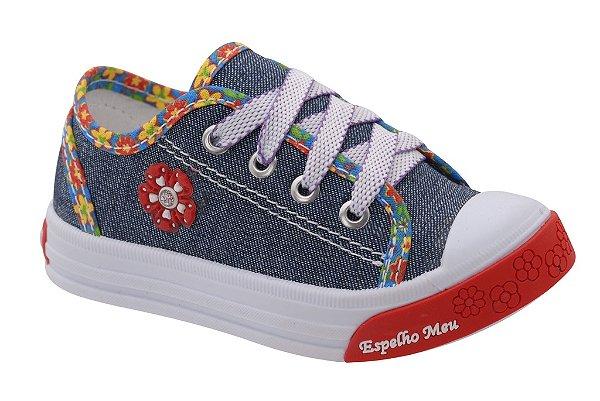 Sapatinho Infantil Feminino Flor Jeans/Vermelho Fechamento em Cadarço Sola TR