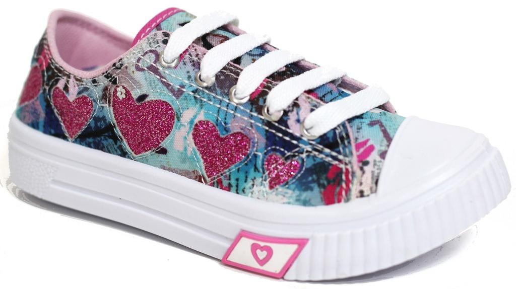 Tênis Feminino Coração Colorido/Rosa Fechamento em Cadarço Marca Espelho Meu