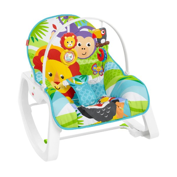 Cadeira de Descanso Infant-to-Toddler Rocker Macaquinho e Leão