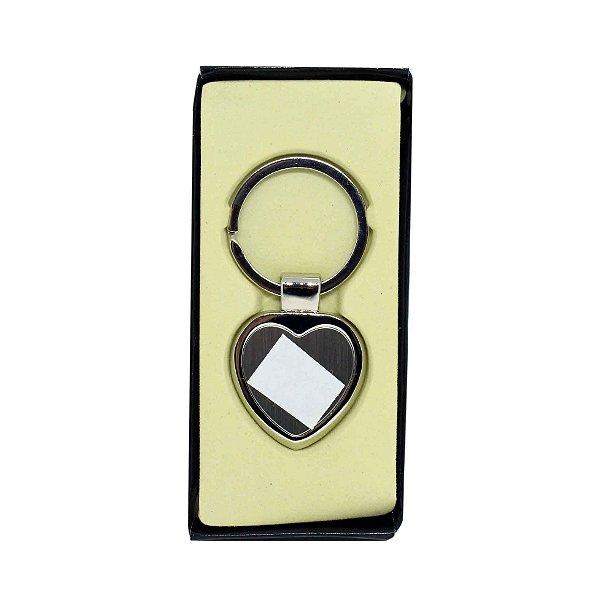 10 - Chaveiro Metal com resina e caixa - Coração Luxo