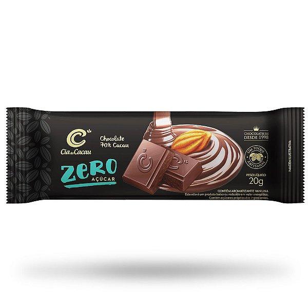 BARRINHA CIA  CHOCOLATE MEIO AMARGO 70% ZERO AÇÚCAR  20g