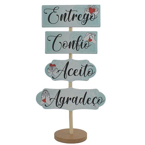 ENFEITE DE MESA PLACA - ENTREGO-CONFIO-ACEITO-AGRADEÇO
