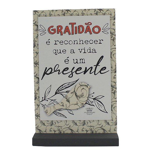 ENFEITE DE MESA MADEIRINHA GRATIDÃO - É RECONHECER QUE...