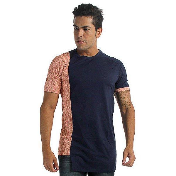 Camiseta LongLine Recorte Lateral Canelado Azul Marinho