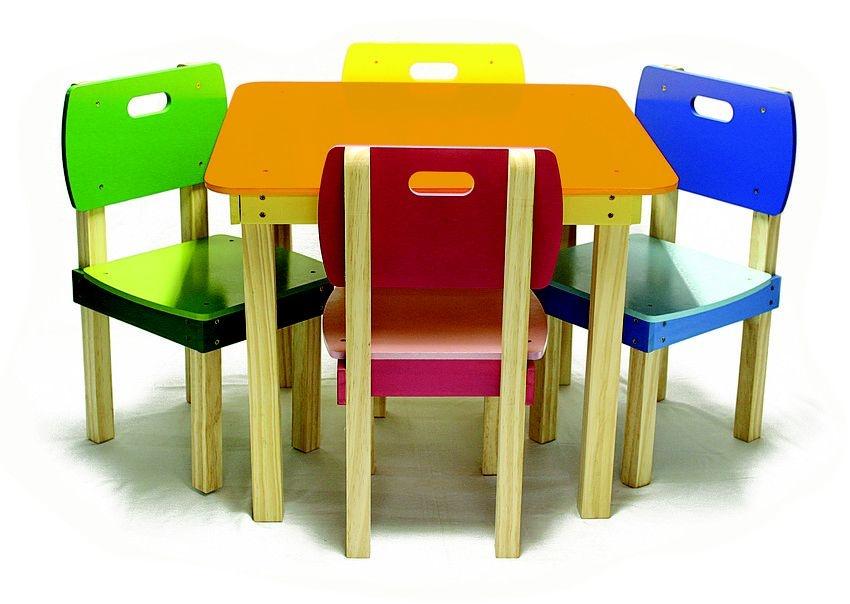 Conjunto de Mesa Infantil Quadrada e 4 Cadeiras Coloridas