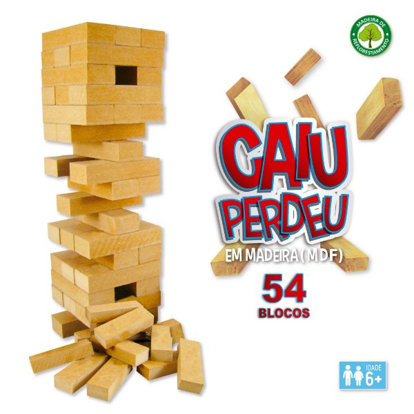 Jogo Caiu Perdeu Torre em madeira 54 peças Pais e Filhos idade 6 +