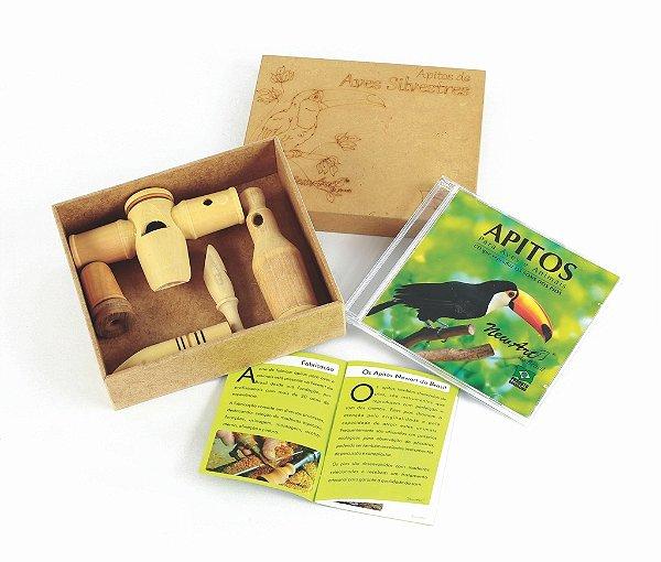 Apitos de Aves  - Caixa em MDF  05 apitos + Tampa + CD