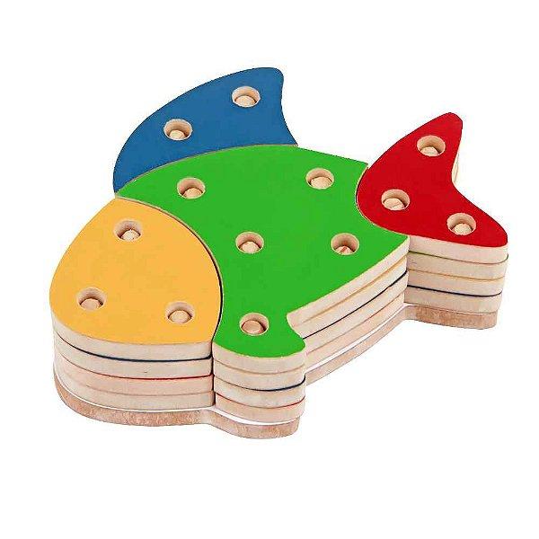 Brinquedo Pedagógico - Troque Monte e Encaixe as Cores - Peixe