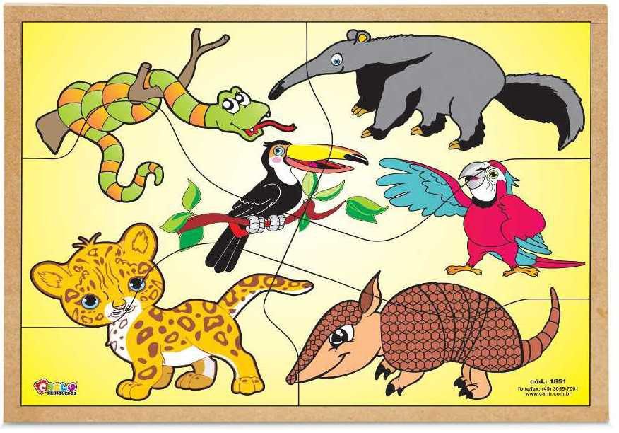 Quebra-Cabeça Animais da Fauna 6 Peças - Carlu