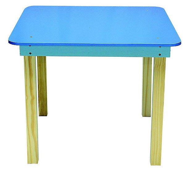 Mesa Infantil Quadrada de madeira Cor Azul