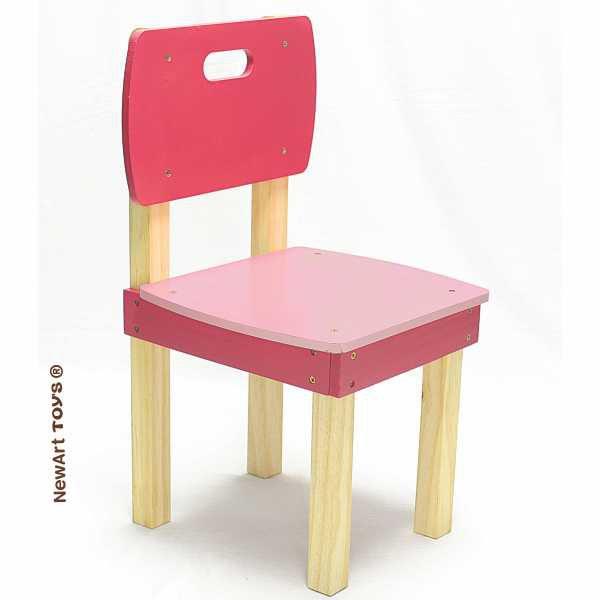 Cadeira de madeira Quadrada Rosa NewArt