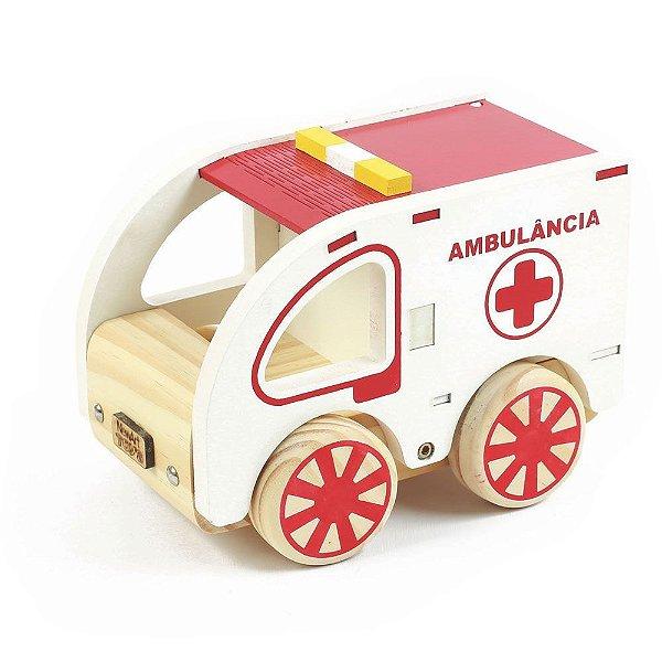 Coleção Carrinhos Ambulância de Madeira NewArt Toys