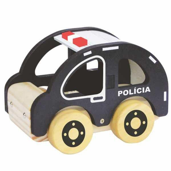 Coleção Carrinhos Policia de Madeira NewArt Toys