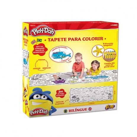 Tapete Bilíngue Com Apagador Play Doh Para Colorir - Fun Toys