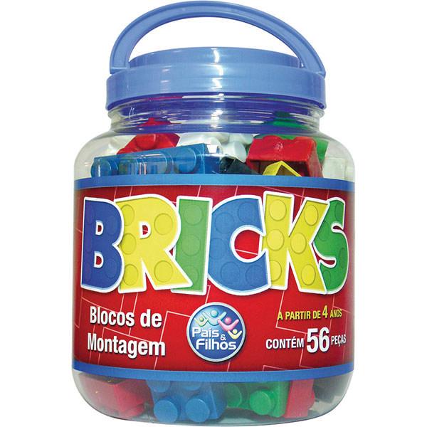 Blocos De Montar Bricks Blocos  56 peças - Pais E Filhos