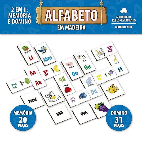 Jogo Pedagógico Alfabeto Dominó E Memória Madeira - Pais E F