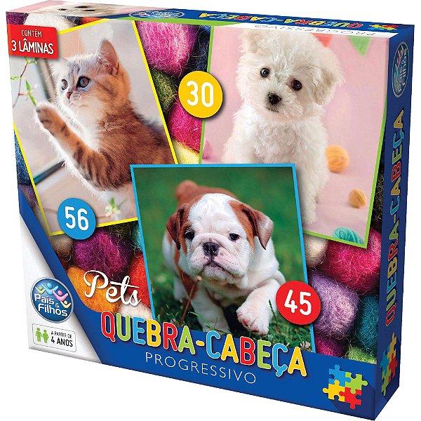 Quebra-Cabeça Pets Progressivo 30/45/56 Peças - Pais E Filhos