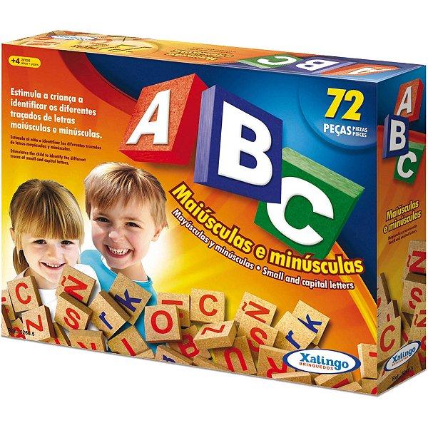 Brinquedo Pedagógico Em Madeira ABC Maiúsculas Minúsculas 72 pçs  Xalingo