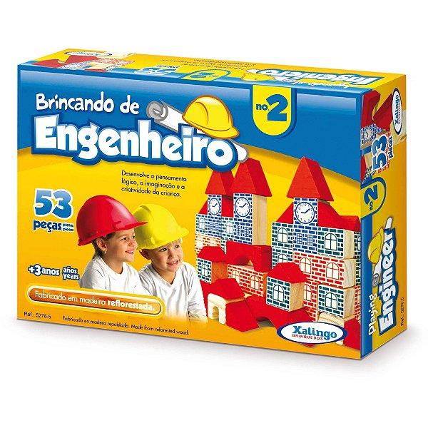 Brinquedo Pedagógico Brincando De Engenheiro Com 53 Peças