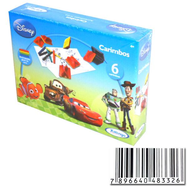 Carimbo pedagógico Disney.Pixar C/6 Carimbos+Giz Xalingo