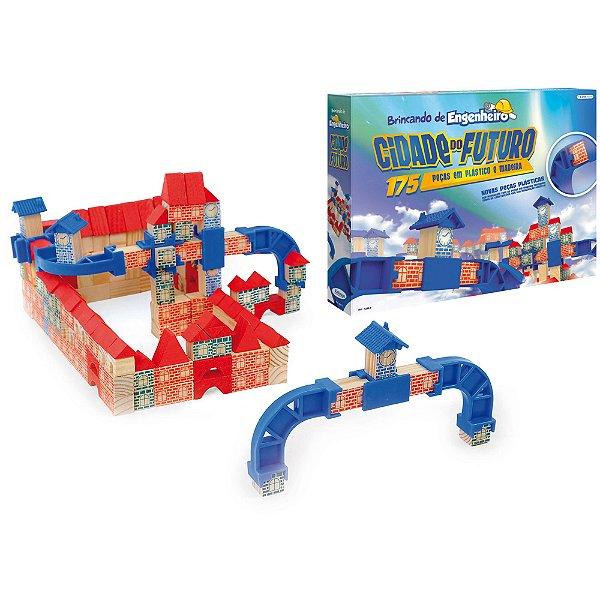 Jogo Brincando de Engenheiro Cidade do Futuro -175 peças Xalingo